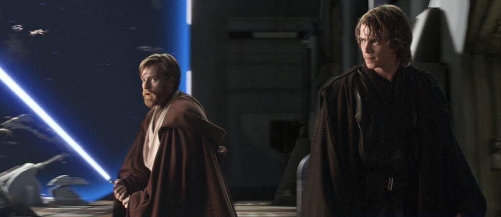 Obi-Wan Kenobi spelad av Ewan McGregor (till vänster) i en scen tillsammans med karaktären Anakin Skywalker (spelad av Hayden Christensen) här i Star Wars: Episod 3 – Mörkrets hämnd.