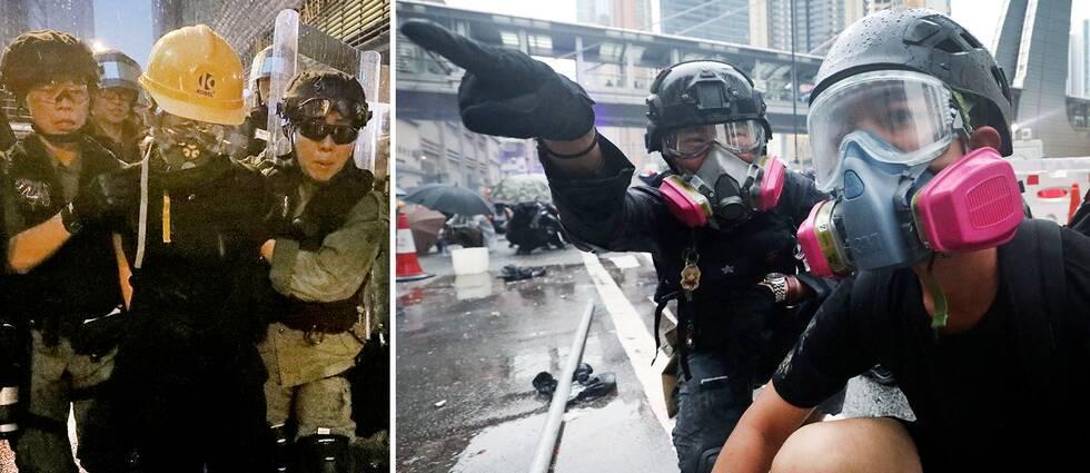 Polis griper en demonstrant i Hongkong (dock inte klarlagt vilket av de 36 gripandena som bilden till vänster visar) där nya våldsamma sammandrabbningar ägde rum för elfte helgen i rad.