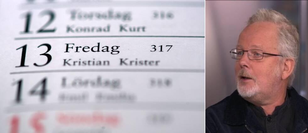 Kollagebild på kalender som visar datumet fredagen den trettonde samt Jonas Engman som är intendent på Nordiska museet som förklarade i Morgonstudion om varför datumet har sådant skamfilat rykte.