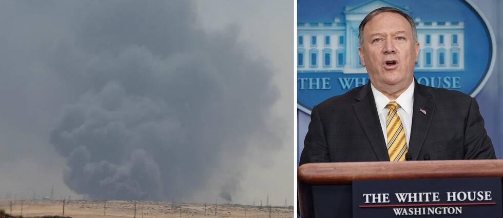 USA:s utrikesminister Mike Pompeo (t.h) pekar ut Iran efter attacken mot Saudiarabiska oljeanläggningar.