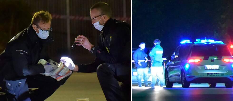 Polisen som undersöker brottsplatsen efter skottlossningen utanför Köpenhamn.