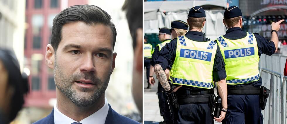 Johan Forssell och två poliser.