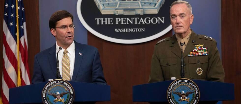 USA:s försvarsminister Mark Esper och general Joseph Dunford i Pentagon den 20 september 2019.