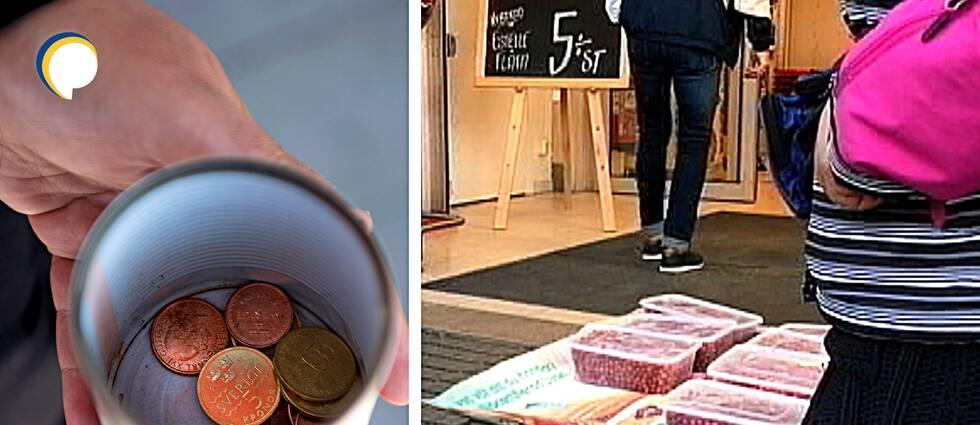 Närbild av mugg med några mynt i – kvinna med platslådor fyllda med lingon