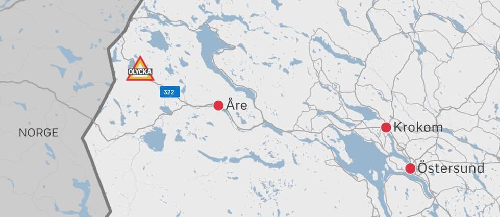 grafik-karta med vägen, Åre, Krokom mm utmärkt