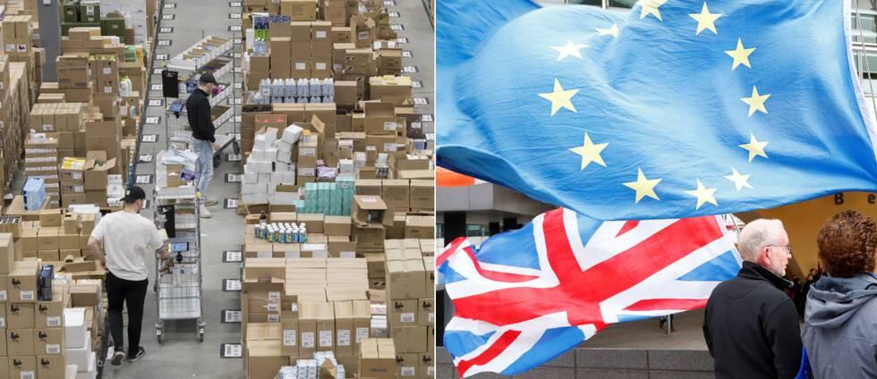lagerarbetare och brexitflaggor