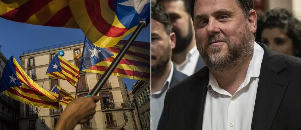 BIld på katalanska flaggor och tidigare vicepresidenten i Katalonien, Oriol Junqueras, som tillsammans med 12 andra tidigare ledare för den spanska provinsen dömts till fängelse efter utbrytningsförsöket i Spanien 2017.