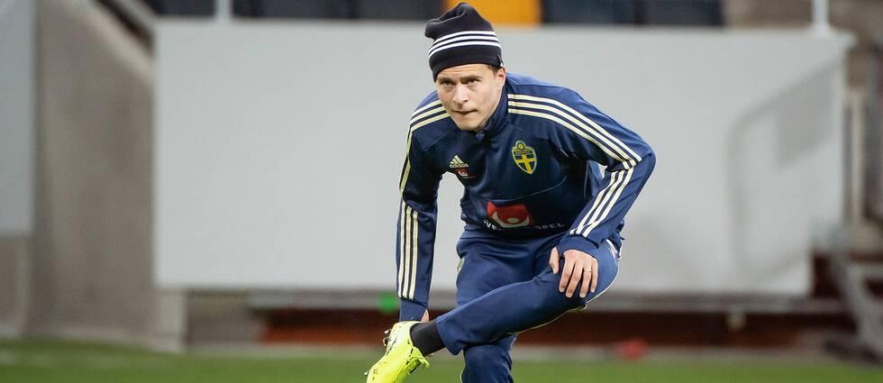 Victor Nilsson Lindelöf tränade för fullt i dag.