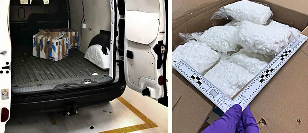 En av de åtalade männen har uppgett att han skulle hämta kartonger som innehöll dyra vaser. I kartongerna fanns istället 80 kilo amfetamin, enligt Tullverket.