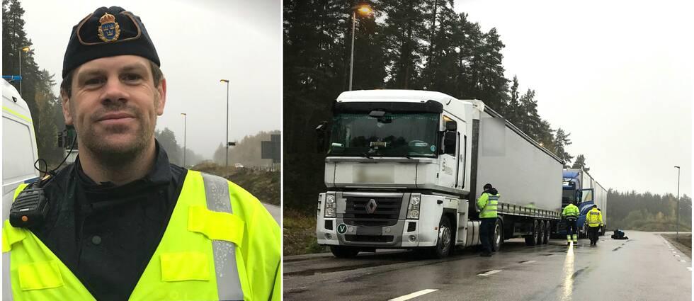 Två bilder. Trafikpolis Ingvar Schön och lastbil som kontrolleras