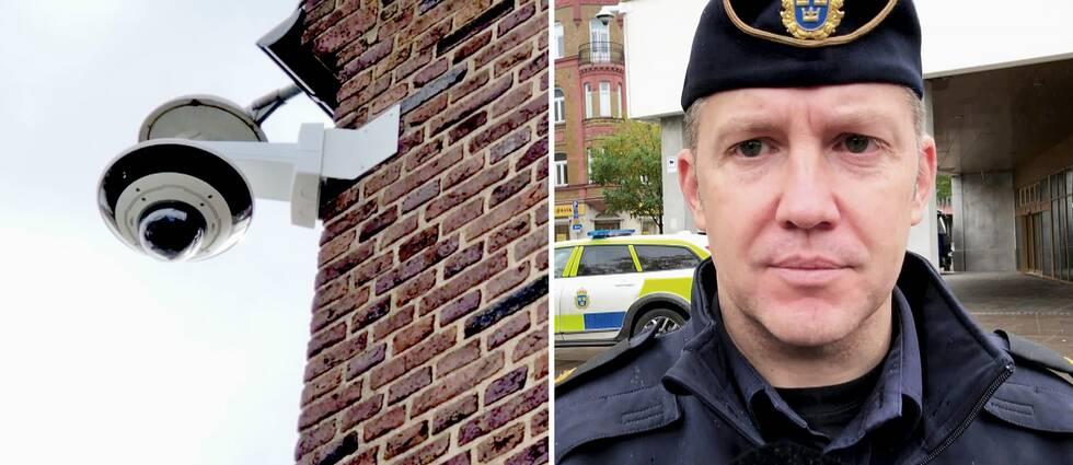 På sju platser i centrala Kristianstad sitter nu polisens övervakningskameror. På bilden är kommunpolisen Martin Thornell.