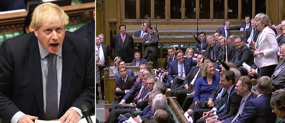 Storbritanniens premiärminister Boris Johnson i parlamentet