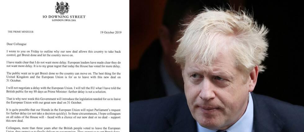 Boris Johnsons brev till parlamentsledamöterna efter dagens debatt och omröstning