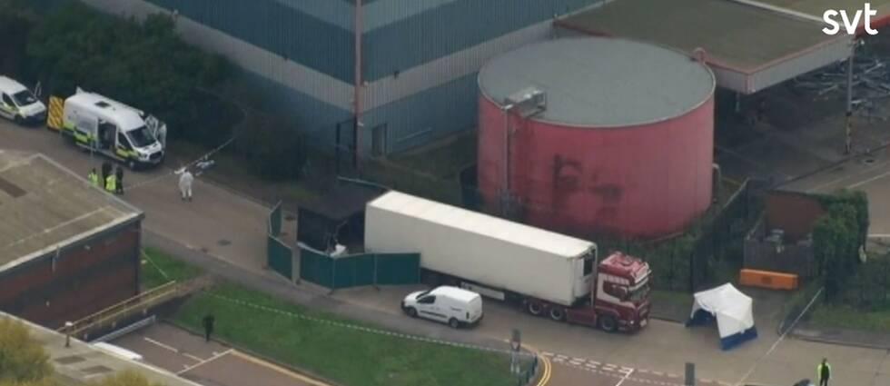 Lastbilen som 39 döda människor hittades i utanför London.