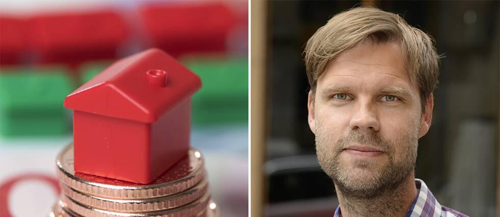 Monopolhus som står på mynt och en bild på Magnus Karlsson.