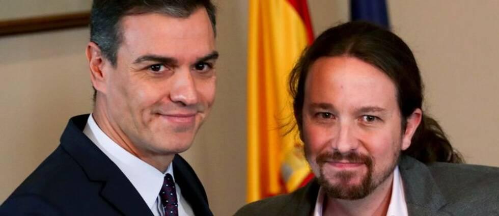 PSOE:s ledare Pedro Sánchez till vänster och Unidas Podemos Pablo Iglesias till höger
