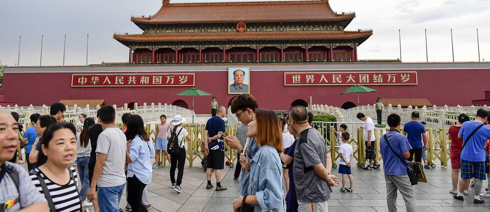 Bilden föreställer himmelska fridens torg i Peking, Kina.