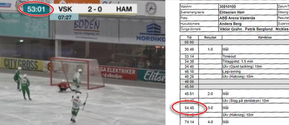 Till vänster syns tv-bild från när Västerås gör 3-0 – till höger matchprotokollet.