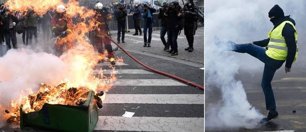 Brandmän fick släcka allt från soptunnor till bilar när Gula västarna uppmärksammade årsdagen för massproteströrelsen.