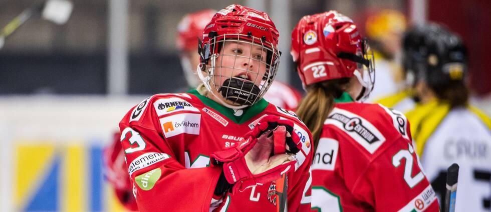 Modos Olivia Carlsson deppar efter 1-5 under ishockeymatchen i SDHL mellan Modo och Brynäs den 17 november 2019 i Örnsköldsvik.