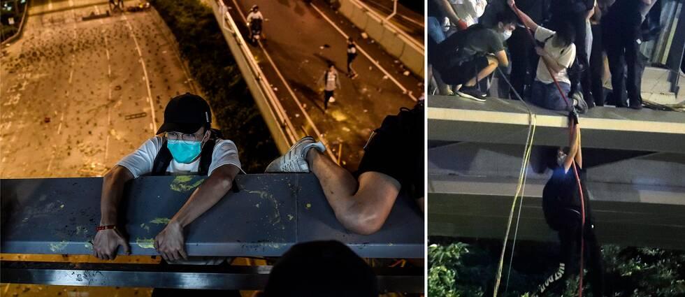 Demonstranterna försöker fly det omringade universitetsområdet genom att hala sig ner från en bro, enligt AP.