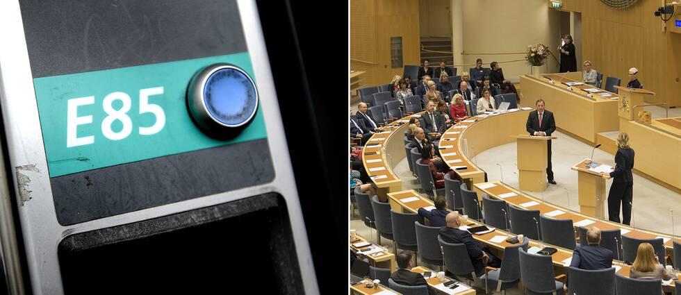 En delade bild föreställande en tankningsautomat och riksdagens plenisal.