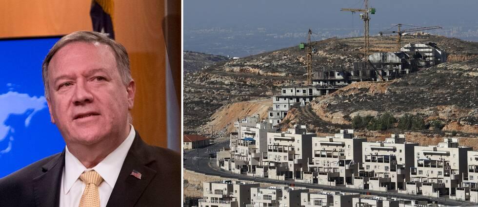 USA:s utrikesminister under presskonferensen där han sade att USA ändrat inställning till de Israeliska bosättningarna på Västbanken (t.h).