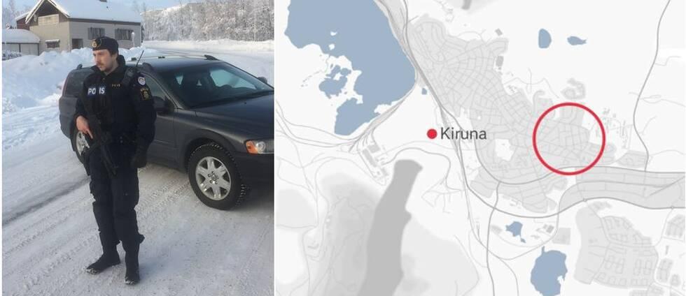 Ett kollage med en beväpnad polis samt en karta över Kiruna där en röd cirkel markerar området där polisen spärrat av ett område.
