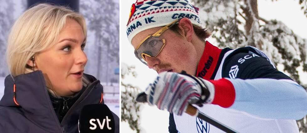 SVT:s reporter Moa Jörnmark och William Poromaa, Åsarna IK.