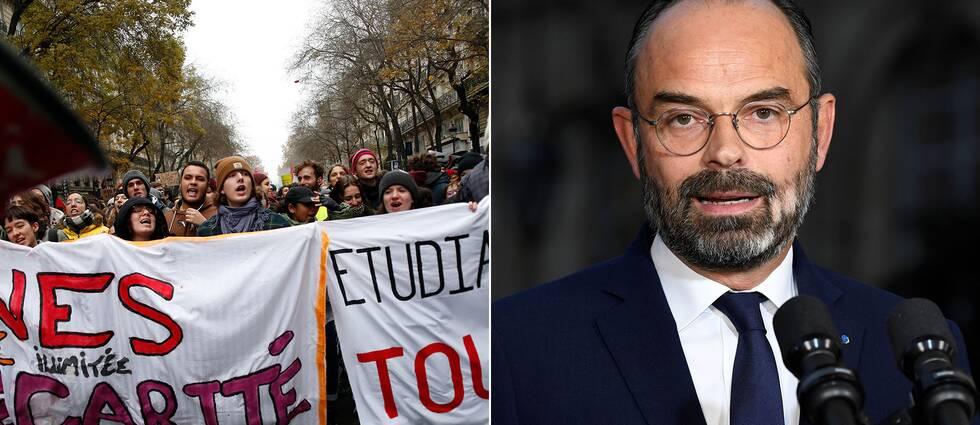 Frankrikes premiärministern Édouard Philippe höll under fredagen en presskonferens kring pensionsreformen som utlöst en masstrejk i landet.