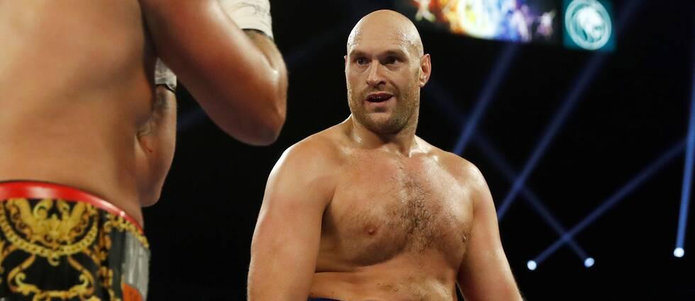 Tyson Fury under en boxningsmatch i Las Vegas i somras.