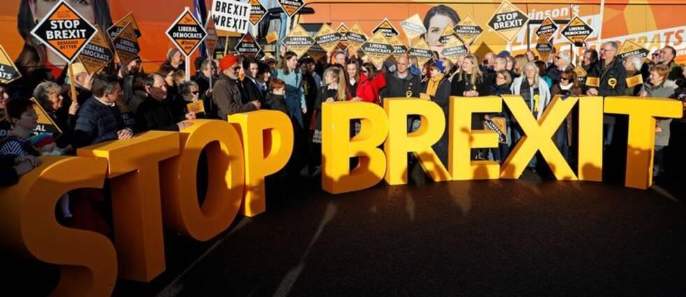 Folksamling står bakom en stor STOP BREXIT skylt