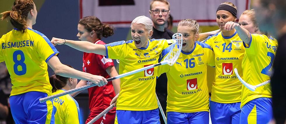 Svenskt jubel i finalen mot Schweiz.