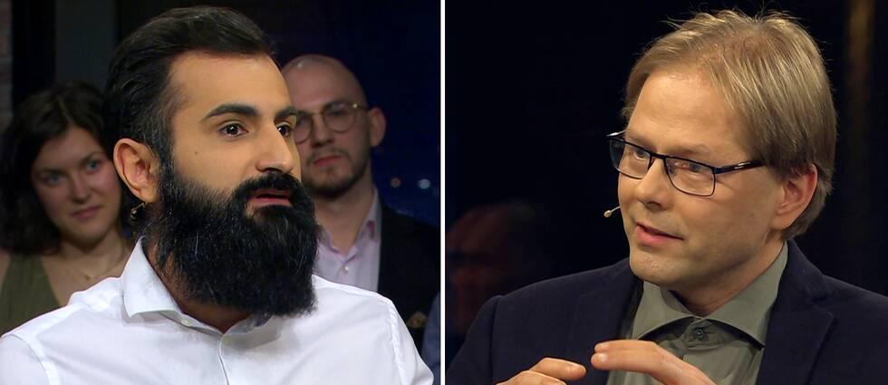 Ett foto på Hanif Bali, moderata riksdagsledamot, och ett foto Anders Lindberg, politisk chefredaktör på Aftonbladet.