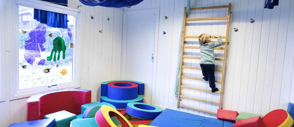 TT bild på ett barn som klättrar på en ribbstege i ett lekrum.