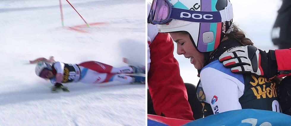 Alina Danioth kraschade i Sestriere och skadade knät.