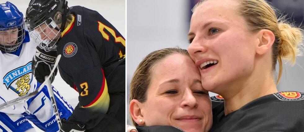 På bilden till höger ses Sophie Kratzer (t.h) krama om tyska lagkamraten Andrea Lanzl (t.v).