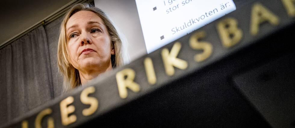 Vice riksbankschef Cecilia Skingsley 2014 där hon presenterade en undersökning gjord av Riksbanken.