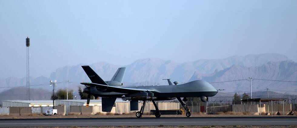 Genrebild. En amerikansk MQ-9 Reaper drönare på Kandahar flygbas i Afghanistan den 22 februari 2018. Det är oklart vilken typ av drönare USA använde i attacken 8 januari 2020.