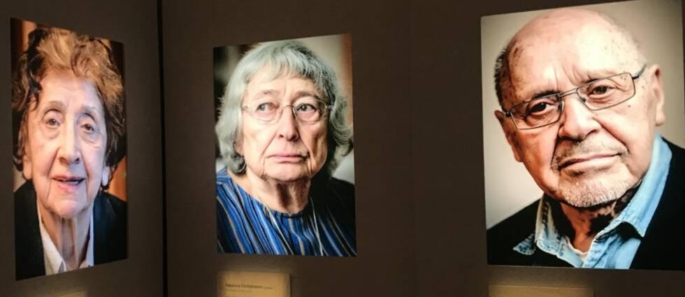 Tre porträttfotografier av äldre personer på en vägg.