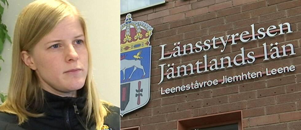Bild på blond kvinna, och en exteriörbild på Länsstyrelsen i Jämtland