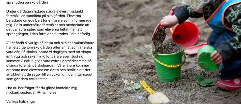 Information från rektor och ett barn leker i sandlåda.