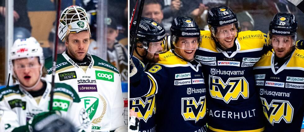 Färjestads målvakt Markus Svensson (vänstra bilden) släppte in sex mål borta mot HV71.