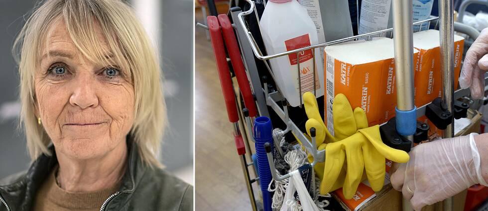 Pia Bergman är expert på ekonomisk brottslighet vid Skatteverket. Till höger en städvagn.