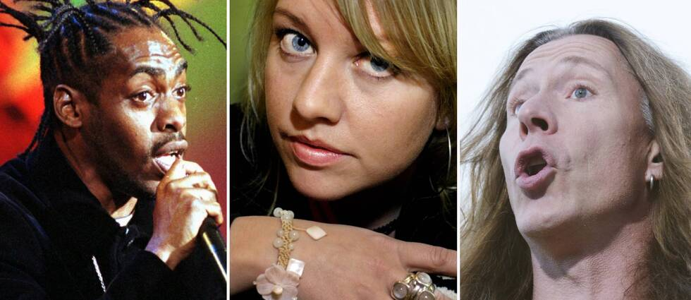 Tre bilder. Artisterna Coolio, Annika Törnkvist och E-Type.