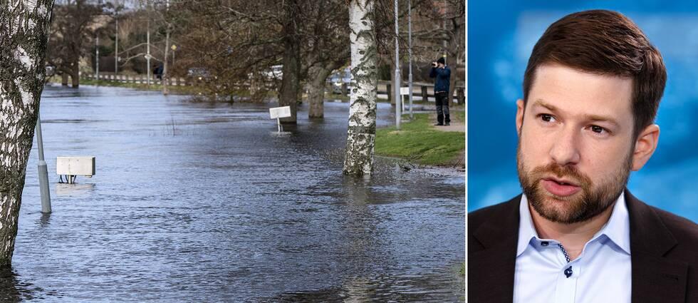 En bild på det höga vattnet i Lagan, till höger SVT:s meteorolog Nitzan Cohen.