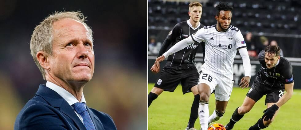 Norges fotbollförbunds generalsekreterare Pål Bjerketvedt och Trondheim Rosenborg-spelaren Samuel Adegbenro.