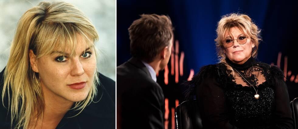 Josefin Nilsson till vänster. Fredrik Skavlan och systern till höger.