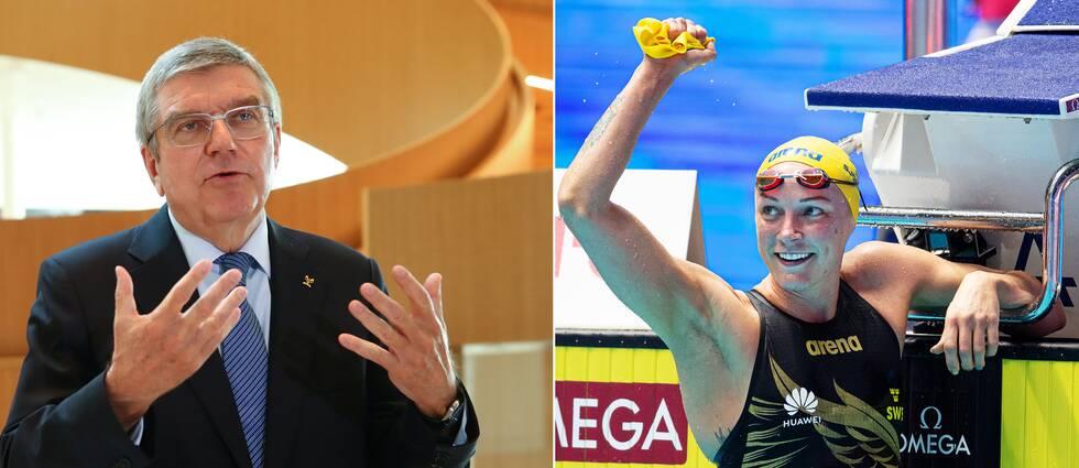 IOK:s Thomas Bach och OS-klara Sarah Sjöström.