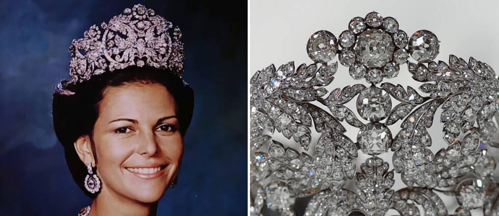 Ett foto från 1976 som är det första officiella fotot på drottning Silvia, och på bilden bär hon det tre kilo tunga brasilianska diademet. Den andra bilden är en närbild på briljanterna i diademet.